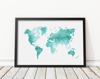 Mint Green Watercolor World Map Print - Teal World Map Poster, Morden Art, Nursery decor, Home Wall Art, Instant Download Digital Print JPG