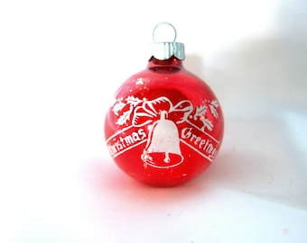 Vintage Shiny Brite Christmas Ornament, Small Red and White Stenciled Christmas Greetings Ornament