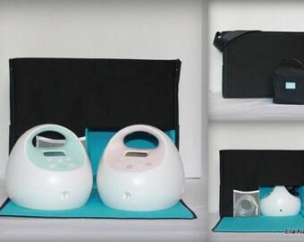 Ella Style Spectra Breast Pump Bag with zipper top closure in Solid Black