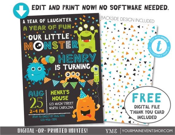 Monster Invitation, Monster Birthday Invitation, Monster Party, Little Monster First Birthday, 1st