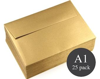 25 - A1 Gold Metallic Square Flap RSVP Envelopes - Antique Gold - 3 5/8 x 5 1/8
