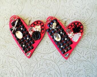 Mixed media heart earrings