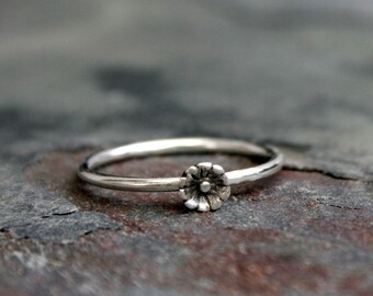 Tiny Flower Sterling Silver Ring, Stackable Ring, Stacking Ring, Little Bloom, Regular Ring or Mid Knuckle Midi Ring, Botanical Floral Gift