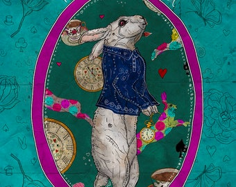 FOLLOW the WHITE RABBIT 12x16 Fine Art Print, White Rabbit Illustration, Alice Wonderland Wall Decor, Fantasy Art Print, White Rabbit Art
