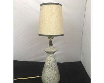 Small Mid Century Speckled Ceramic Lamp with Clip on Shade