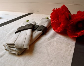 Set mixed linen runner, napkins, napkin rings, table runner, linen tablecloth, serviettering, gift for Valentine's Day
