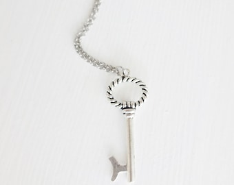 Skeleton Key Necklace in Antique Silver, Rhodium Plated Chain, Non-Tarnish (8 Key Styles To Choose From)