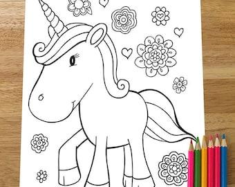 Cute Unicorn Coloring Page! Downloadable PDF file!