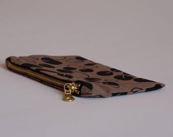 Screenprinted zipper pouch, make up bag, small clutch