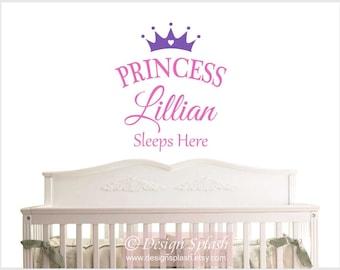 Personalized Girl's Name Princess Sleeps Here Vinyl Wall Decal, Baby Girl Nursery NM-134