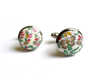 Pastel support Katie and Millie liberty fabric cuff links gold or silver option
