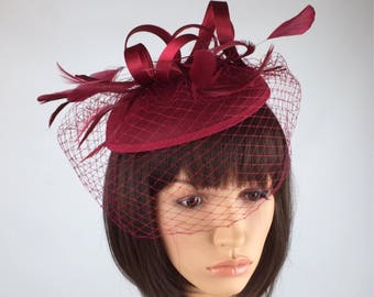 Burgundy fascinator, Wine fascinator, burgundy hat, Wedding Hatinators, Pillbox Hat and net veil. Races, Weddings, Bride, Occasion, Parties,