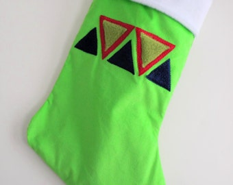 Sale! Triangles Lime Green Modern Christmas Stocking - Personalized Christmas Stocking - Tribal Triangles