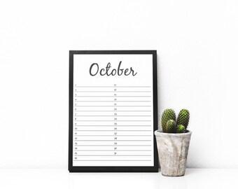 Perpetual Calendar - Instant Download - Calendar Printable - Wall Calendar - 2017 Calendar - 2018 Calendar - Reusable Calendar - Birthday