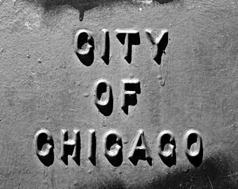 Chicago Photo Print - Urban art - City signage wall decor - Black and white photography - Goth - Chicago print - Illinois photos - American