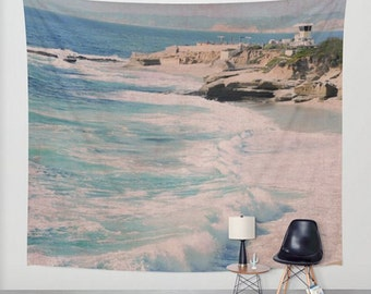 Wall Tapestry, Beach Home Decor, Interior Design, Modern Wall Art, Ocean Waves Wall Hanging, Large Size Wall Art, Blue Ocean Photography