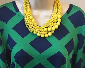 Buttercup Yellow Multi Strand Cascade Bubble Beaded Bib Statement Necklace