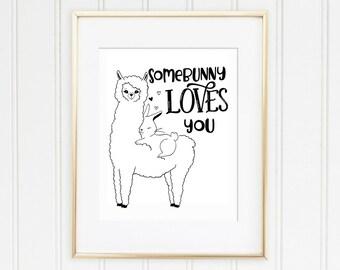 Somebunny Loves You Llama and Bunny Rabbit Cute Printable for Greeting Card