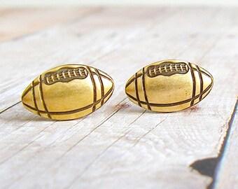 Football - antique brass post earrings