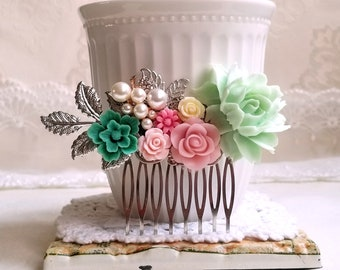 Mint green Baby pink Fresh green Silver bridal flower hair comb Shabby chic flower jewelry Country garden hair accessory