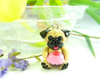 Cupcake Pug Necklace , pug jewelry, Dog Jewelry, dog necklace, pug gifts, dog lovers gift, pug necklace miniature animal polymer clay