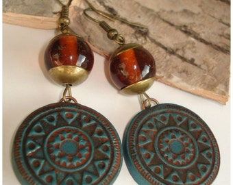 Inspiration earrings handmade ethnic jewelry Aztec