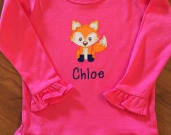 Girly Fox Shirt, Fox Ruffle Shirt, Girl Fox Shirt