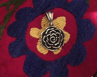 Sterling Silver Pendant-Flower Pendant-Handmade Vintage Pendant-Ethnic-Hippy-Gypsy-LV38