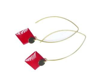 Dangle red earrings, square shaped earrings, bronze jewelry