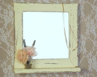 Wall Hanging mirror, Yellow Shabby Chic Wooden Mirror, Vintage mirror,