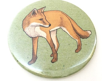 fox pocket mirror - fox compact mirror - fox print - wildlife / nature / animal illustrated gift - fox gift
