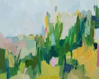 Original Modern Blue, Green and Pink Abstract Landscape Small Oil Painting with Abstract Flowers
