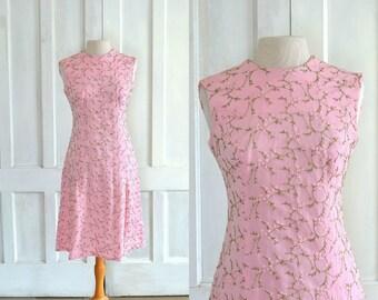 60s Vintage L'aiglon Dress Pink Embroidered Knit Mini Dress