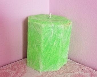 Apple kale palm wax pillar, candles, green, peasinapodtreasures, beautiful, home decor