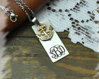 personalized  anchor charm Monogram Bar Necklace, Bridesmaid Gift , Custom Wedding Gift, Name Initials Necklace, Handmade necklace