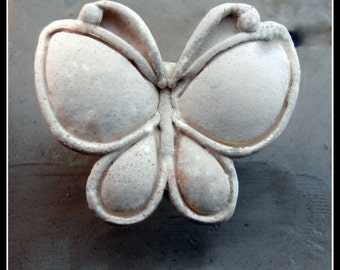 Handcarved  bisque stamp, Butterfly,   for stamping on stoneware clay, polymer clay, metal clay, crafts, and fondart foods ( 0066 )