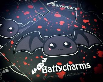 "3"" Vinyl Blood splatter Bat Stickers (x2)"