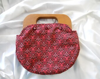Wood Handle Purse with Reversible Cover in Brown and Pink