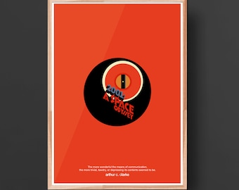 2001: A Space Odyssey Movie Print- Illustration typography poster, Matte and Giclee Art Prints in A3 or A2 sizes. Wall Art, Home Decor