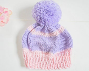 3-6 Mos. Baby Hat/Knit Baby Hat/Infant Hat/Hand Knit Baby Hat/Lavender and Pink Baby Hat/Baby Beanie/Knitted Beanie