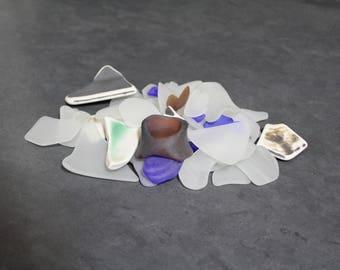 200 grammes de baratté, morceaux de verre givré à la main, recyclé en verre
