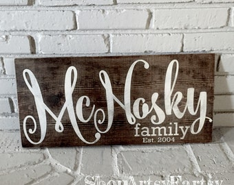 """Family Name sign 12"""" x 24"""" Family Established wood sign"""
