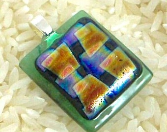 Fused Glass Pendant Semi Transparent Green with Squares Patterned Dichroic - Gift Box