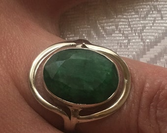 Emerald natural, 925 silver sterling ring / size 56