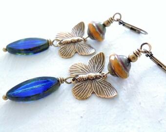 Gold Blue Butterfly Dangle Earrings Golden Brass Butterflies Cobalt Blue Czech Glass Dangles Unique Artisan Gift for Her Nature Fashion Gift