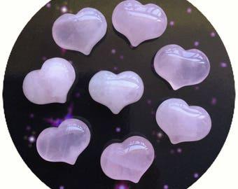 Rose Quartz Heart Pocket stone, gemstone, 1 pc, 25mm Valentines day gift, Love