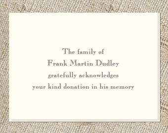Donation Acknowledgements - 25 foldover notes and envelopes, Custom Stationery for acknowledging memory donations