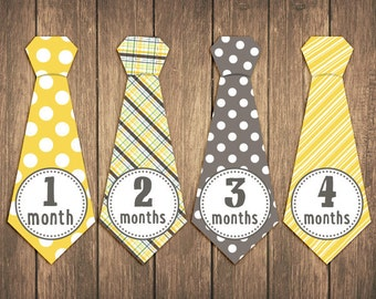 Monthly Baby Stickers, boy baby month stickers, tie monthly baby stickers - Jonah tie