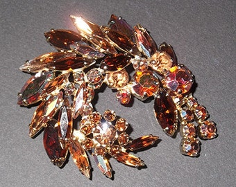 Vintage Sherman Feather-Shaped Brooch From the Late 1950's