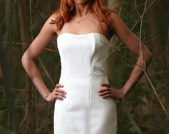Jessy / Short weddind dress, strapless, vintage lace